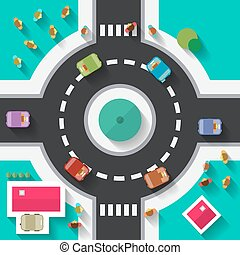 Top View Flat Design Roundabout Crossroad - Streets and...