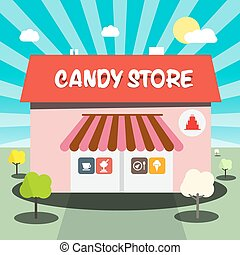 Candy Store Vector Flat Design Illustration