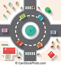 Flat Design Top View Street Roundabout with Cars and People...