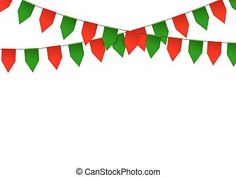 Colorful bunting flag isolated on white background. Vector...