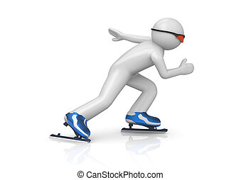 Skater speeding up 3d isolated characters on white...