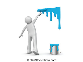 Painter at work (3d isolated characters on white background...