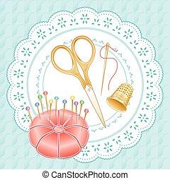 Gold Vintage Sewing Set, Pastels, engraved embroidery...