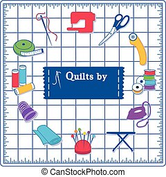 Quilting Icons, Blue Cutting Mat - Quilting Icons for DIY...