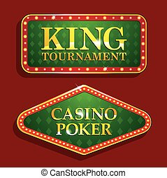 Golden Casino banners isolated on red background