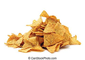 nachos - a pile of nachos isolated on a white background