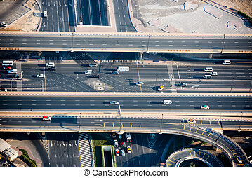 Top view of highway interchange in Dubai, UAE Horizontal...