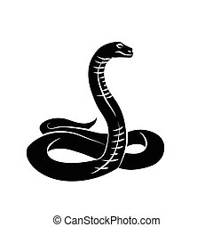 Vector. Black snake. - Vector illustration. Black snake on...
