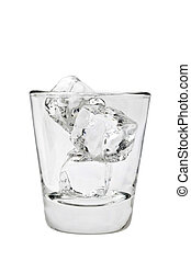 Empty glass tumbler with ice cubes on a white background -...