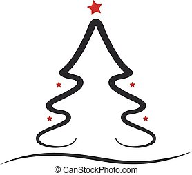 christmas tree red black isolated background