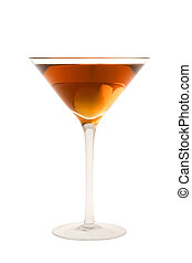 Rob Roy cocktail or Manhatten cocktail on a white background...