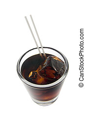 Black Russian cocktail on a white background