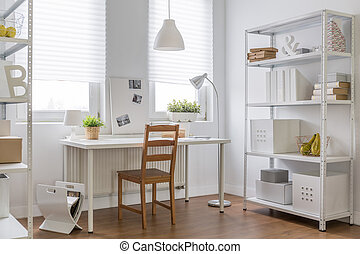 Work place in new apartment - Image of simple work place in...