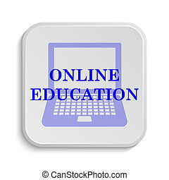 Online education icon. Internet button on white background....