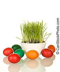 Easter and spring symbols - grass and dyed eggs