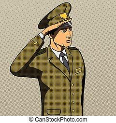 Military man salutes pop art style vector illustration....