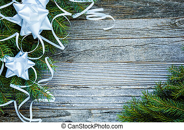 Christmas Fir Tree Branches with White Decorations