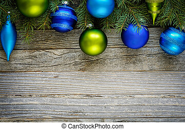 Border of Christmas Tree Branches with Ornaments - Border of...