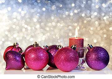 Purple Christmas Balls and Candle - Purple Christmas balls...