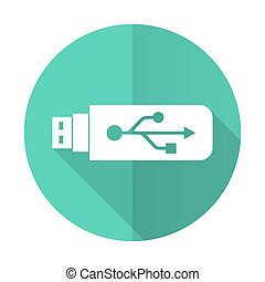 usb blue flat desgn circle icon with long shadow on white...