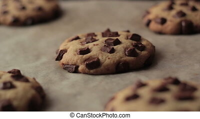 Chocolate Chip American Cookies After Oven Full HD
