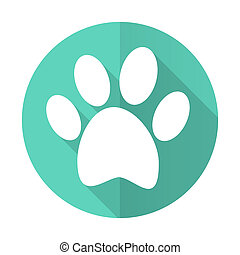 foot blue flat desgn circle icon with long shadow on white...