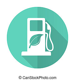 biofuel blue flat desgn circle icon with long shadow on...