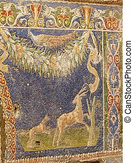 Multi-colored wall mosaic of animals at Herculaneum, Italy -...