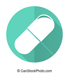 drugs blue flat desgn circle icon with long shadow on white...