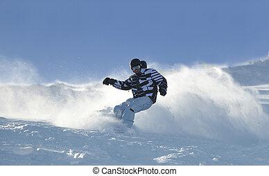 Estilo libre, snowboarder, salto, paseo