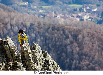 Climber struggle to the summit of a challenging ridge