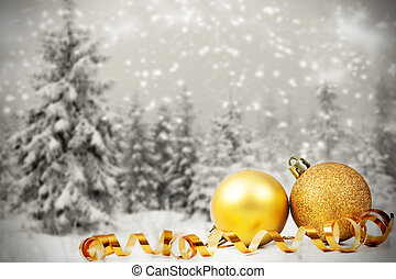 Christmas decorations against winter background - Christmas...