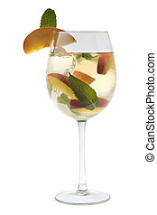 White Sangria in a glass on a white background - White...