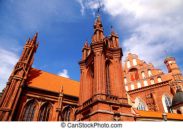 Detail of gothic St Annes Church and the Church of St...