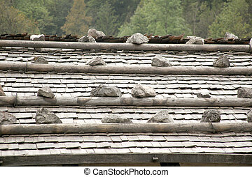 stones on a traditional roof in bavaria