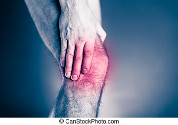 Knee pain, physical injury painful leg