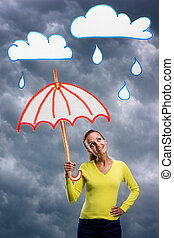Happy smiling young woman with umbrella - Smiling young...
