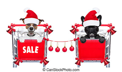 christmas sale dogs - santa claus couple of dogs in a...