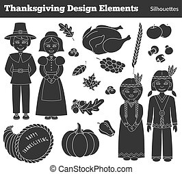 Thanksgiving silhouette elements - Set of hand drawn...