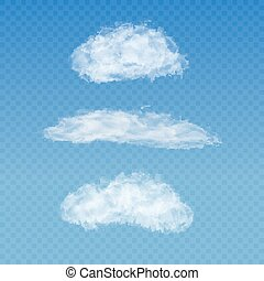 Set of realistic transparent white clouds on a plaid blue...
