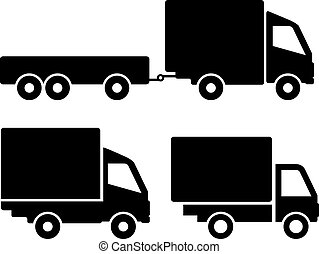 Car truck icons set isolated sign on white background