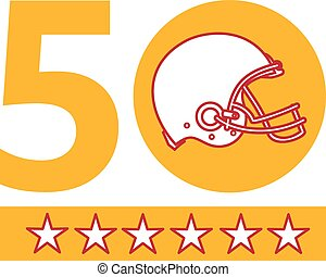 50 Pro Football Championship Sunday Helmet - Illustration...