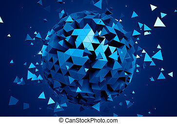 Rendering of Sphere With Chaotic Particles. - Abstract 3d...