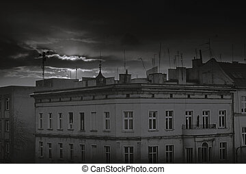 eastern europe old town building with the moody weather