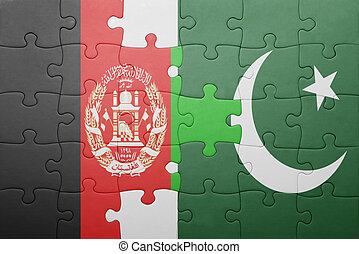 puzzle with the national flag of pakistan and afghanistan