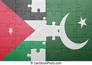 puzzle with the national flag of pakistan and jordan