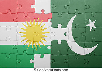 puzzle with the national flag of pakistan and kurdistan