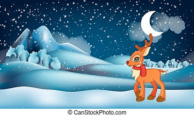 Cute little cartoon deer wearing scarf in front of winter landscape