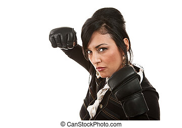 Hispanic Businesswoman with Boxing Gloves - Hispanic...