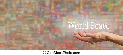 Holding out for World Peace - Female hand outstretched with...